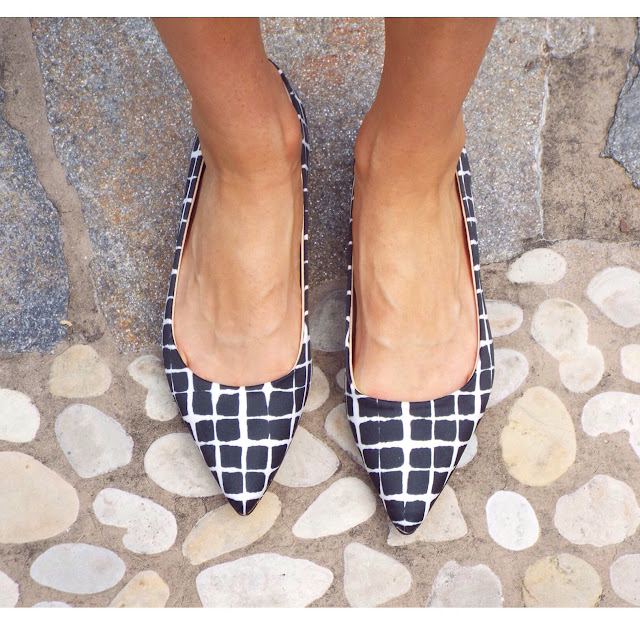 Adam Lippes for Target Pointed Ballet Flat - Black & White Plaid