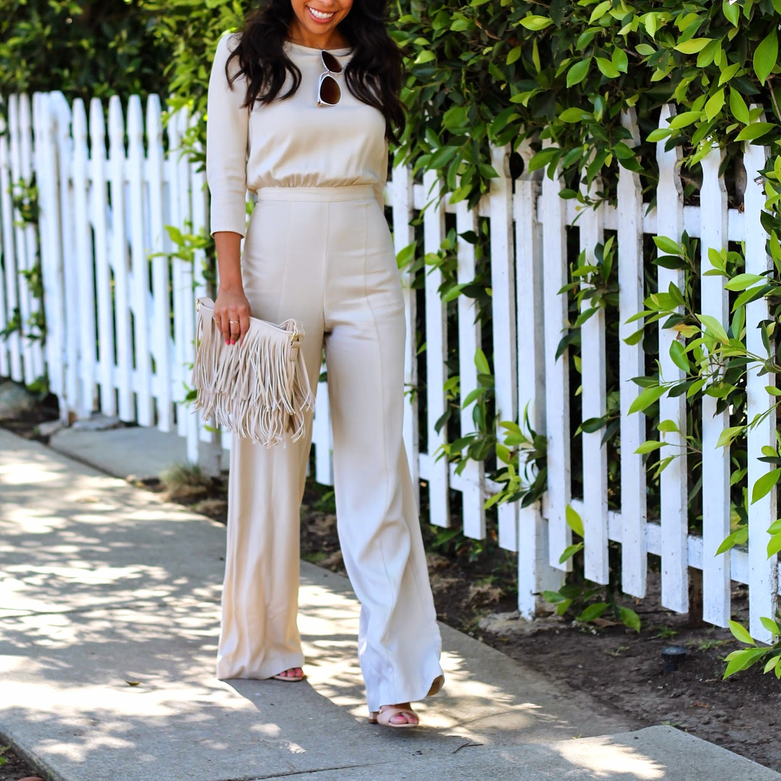 how to wear a jumpsuit, long-sleeve jumpsuit, charming charlie jewelry, neutral spring outfit