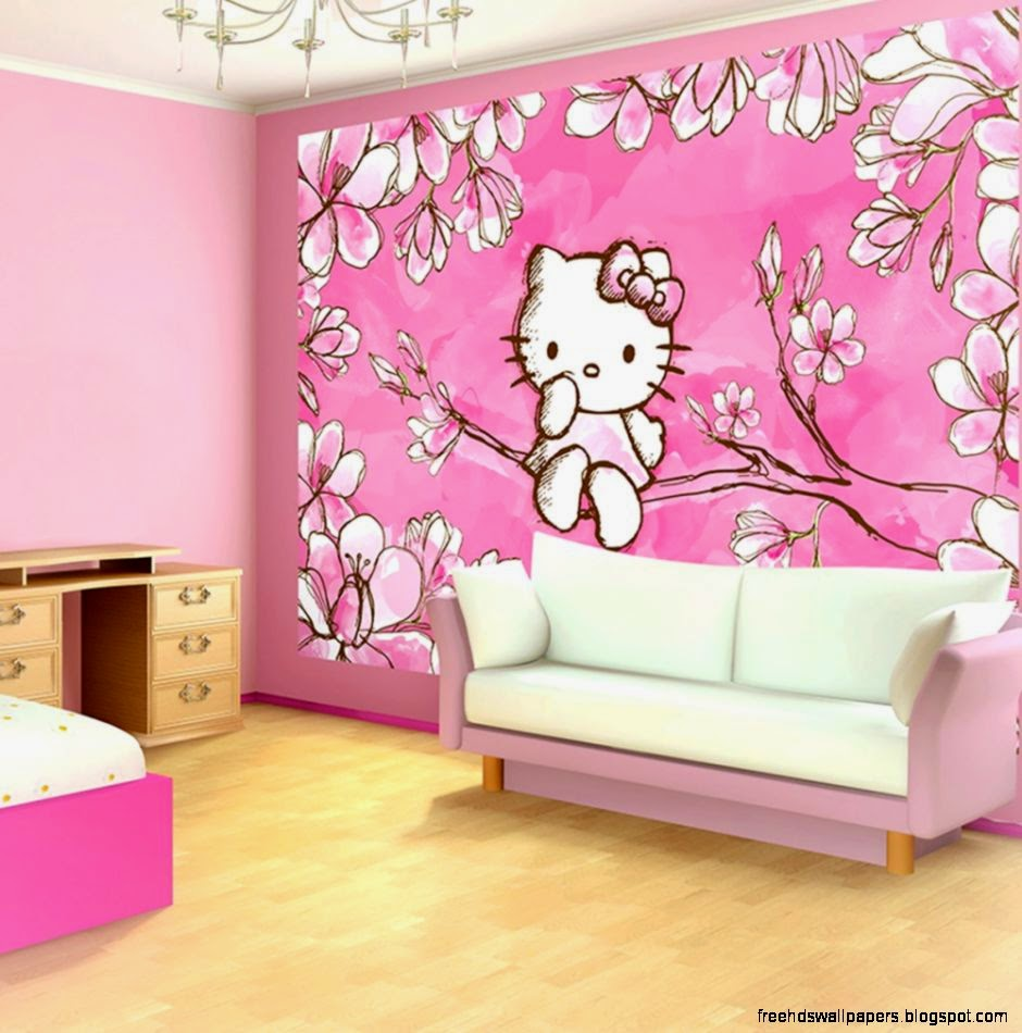 Hello kitty wallpaper bedroom free hd wallpapers for Hello kitty bedroom design