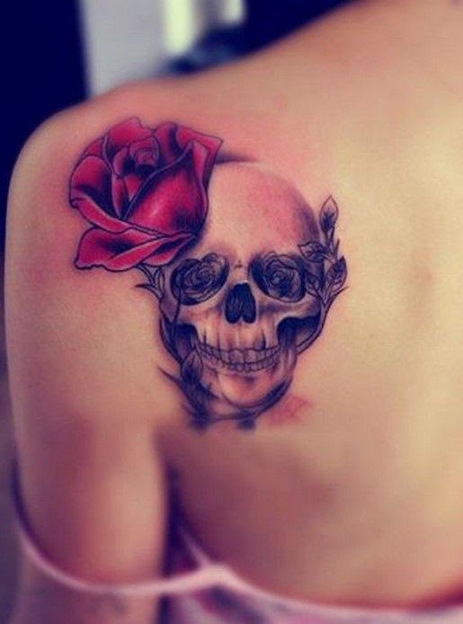 ♥ ♫ ♥ Upper Back Tattoos: Skull Rose Tattoos for Girls ♥ ♫ ♥