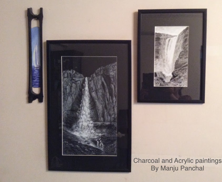 charcoal and acrylic paintings by manju panchal