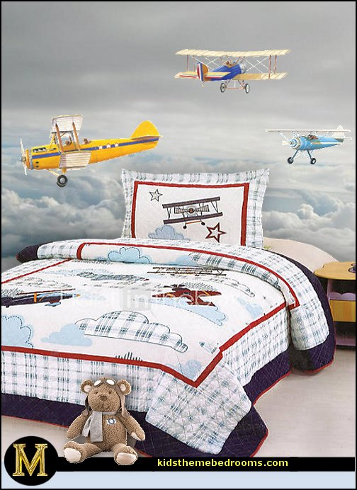airplane bed airplane theme bedroom - Aviation themed bedroom ideas - airplane bed - airplane murals  sc 1 st  Decorating theme bedrooms - Maries Manor & Decorating theme bedrooms - Maries Manor: airplane theme bedroom ...