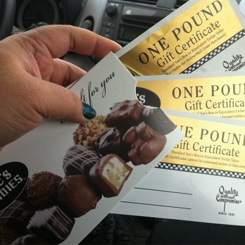 Fulfill your sweet tooth with 2 one lb See's certificates