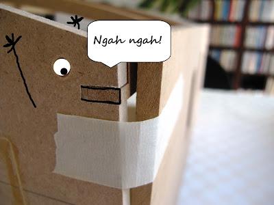 Cartoon of a creature poking its tongue out and going 'ngah ngah'