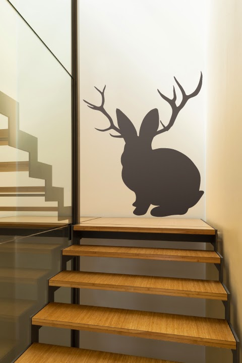 Jackrabbit with antlers is a non taxidermy art for stylish hipsters