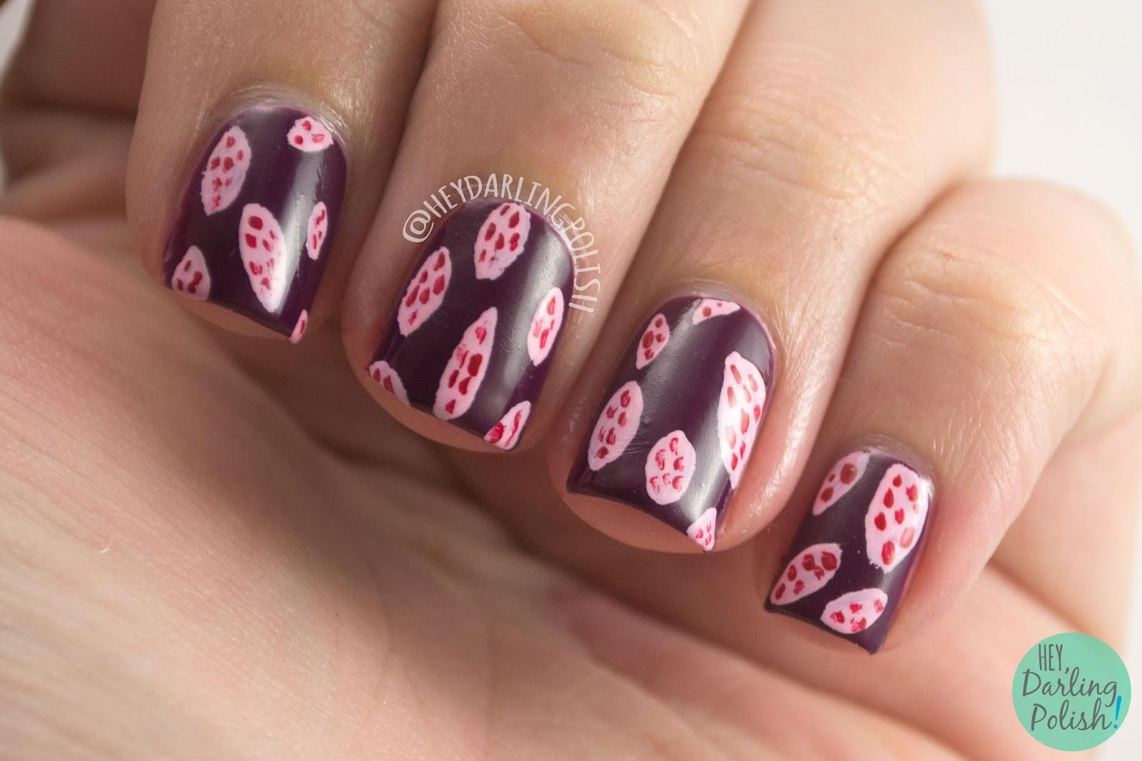 nails, nail art, nail polish, hey darling polish, black dahlia lacquer, indie polish, blood roses, wine berry, pattern