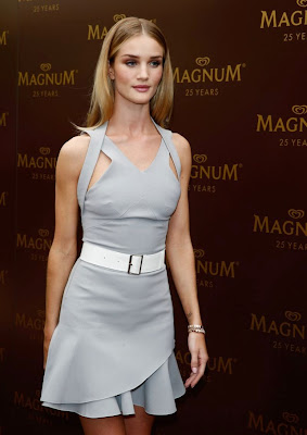 Rosie Huntington-Whiteley looked stunning in Victoria Beckham Spring 2014 dress at 25th Anniversary Magnum Short Film Photocall in Cannes