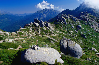 Corsica, France - GR20 walking route on the ridge before the Asinao shelter in Corsia