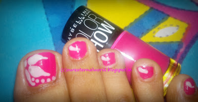 Floral Nail Art - Maybelline Color Show Hooked On Pink