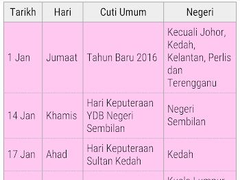 Senarai Cuti Umum atau Public Holiday Tahun 2016