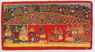Illustration from a Bhagavatapurana Series: Krishna Raises Mount Govardhana, Madhya Predesh, Malwa; 1700-1725
