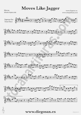 Tubescore Moves Like Jagger Sheet Music for Tenor Sax and Soprano Sax by Maroon 5