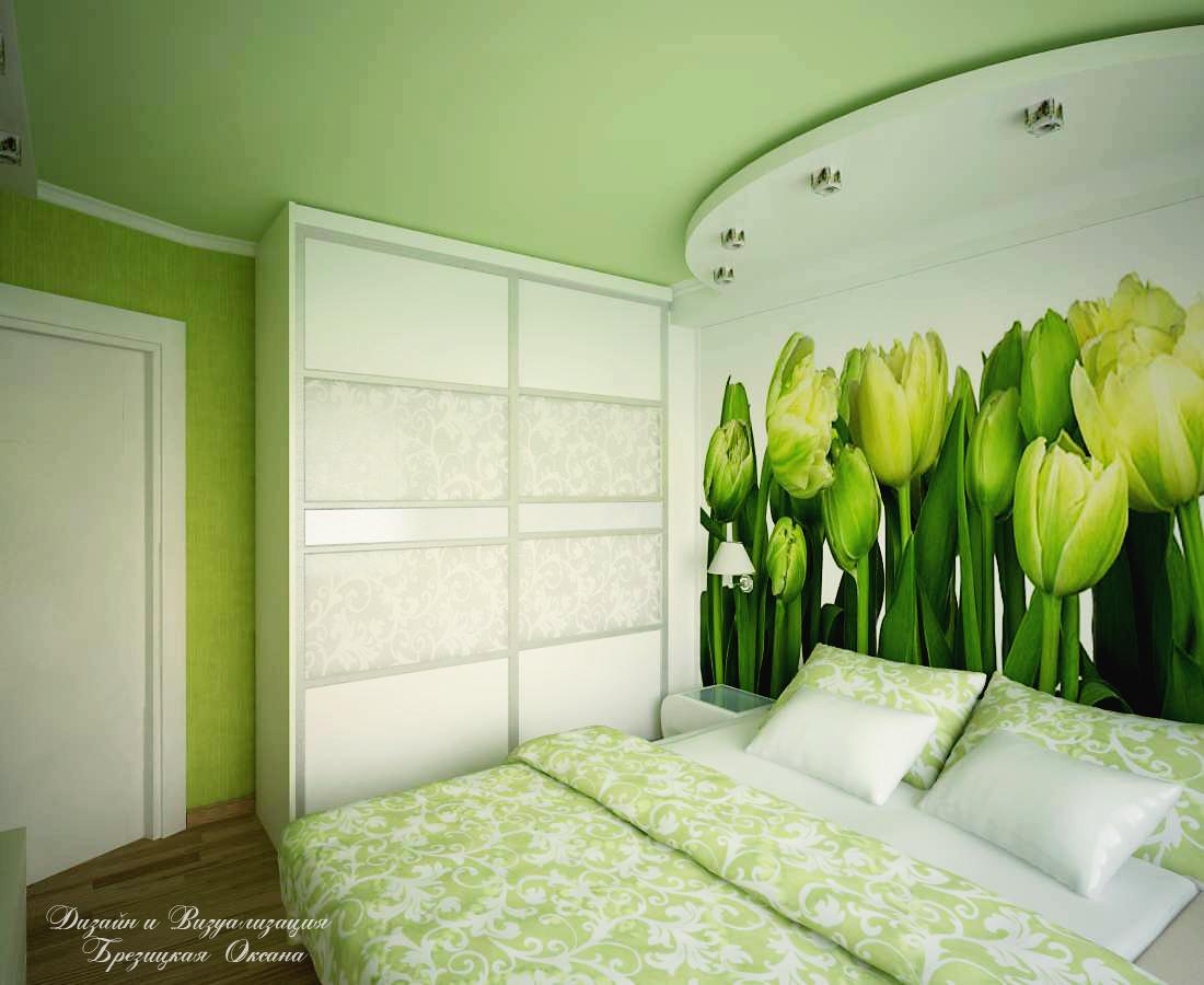 Спальня в салатовом цвете дизайн