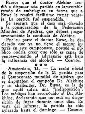Recorte de prensa de El Mundo Deportivo de Pablo Morán sobre Alekhine
