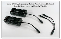 Leica DMR AA Emergency Battery Pack Harness (3x2 size) with Coaxial Disconnects, and Coaxial Y Cable