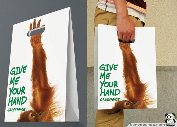 Greenpeace monkey Plastic Bag