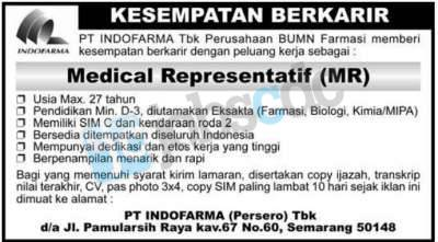 Persero) Tbk - Recruitment Medical Representatif Semarang 2012