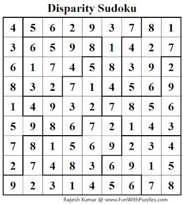 Disparity Sudoku (Daily Sudoku League #103) Solution