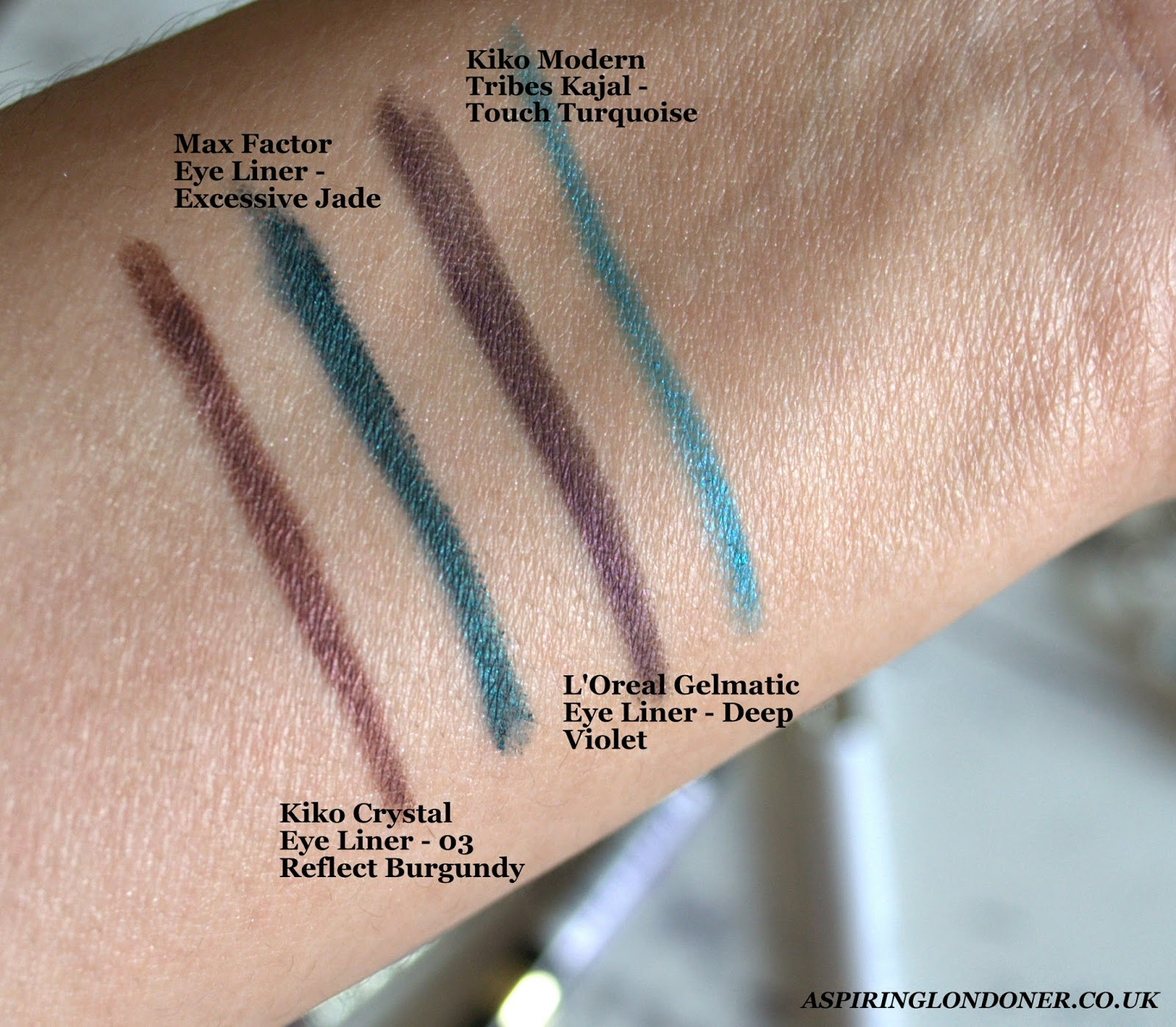 Colour Eyeliners For Brown Eyes Swatch ft Kiko, Loreal, Max Factor - Aspiring Londoner