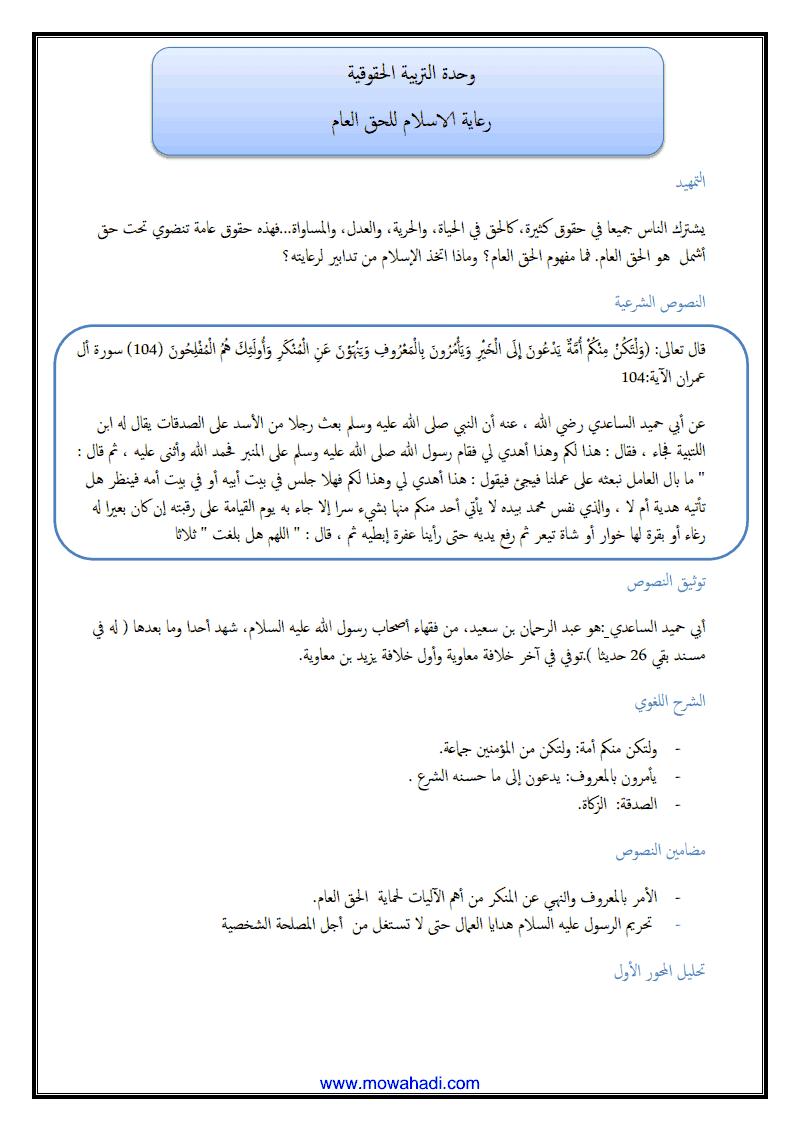 رعاية الاسلام للحق العام