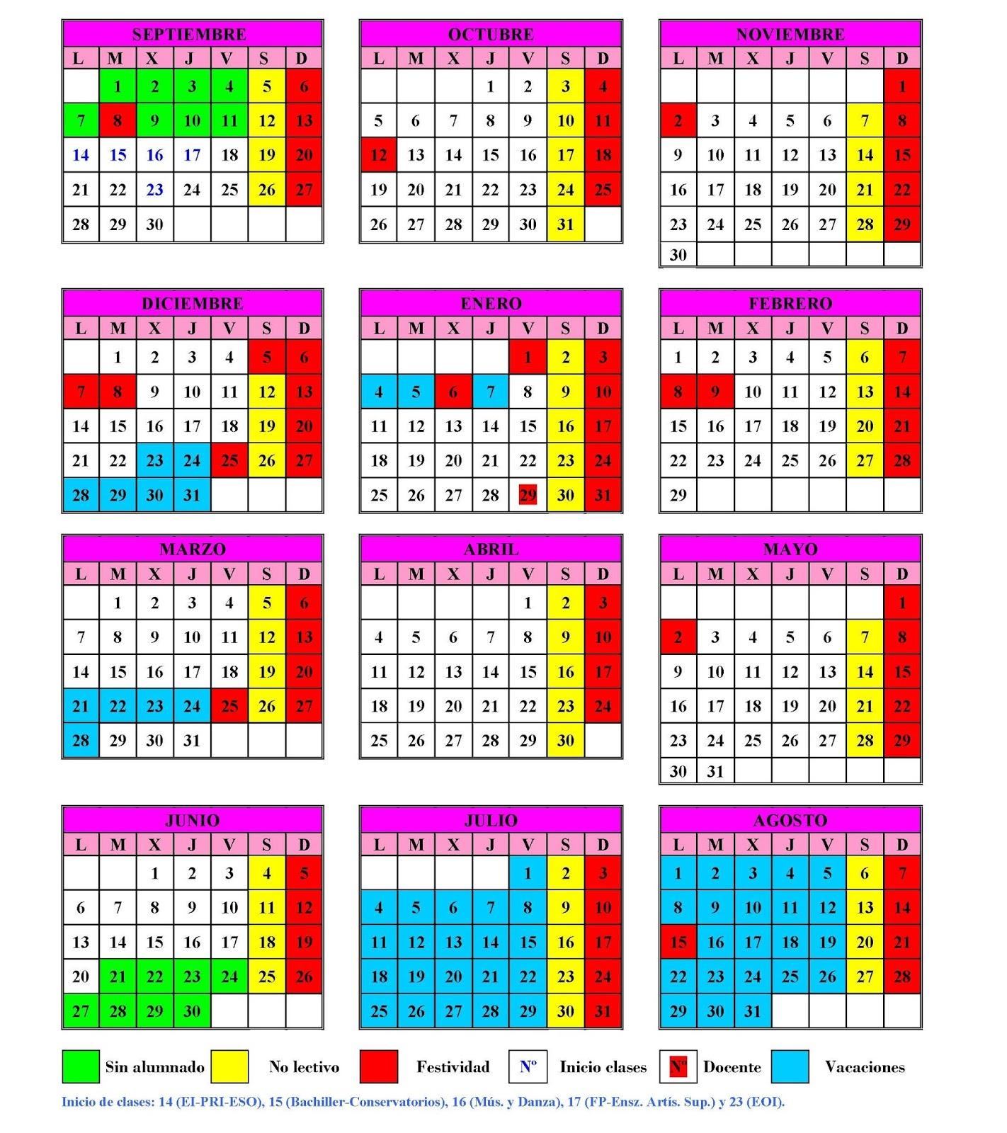 Para empezar aquí os dejo el calendario escolar del curso 2015-2016