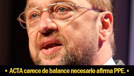 ACTA carece del balance necesario, afirma el PPE