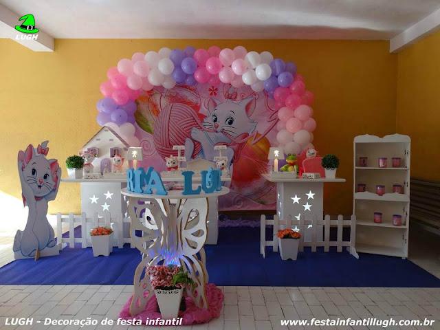 Decoração infantil de festa de aniversário de meninas com o tema Gata Marie - Recreio RJ