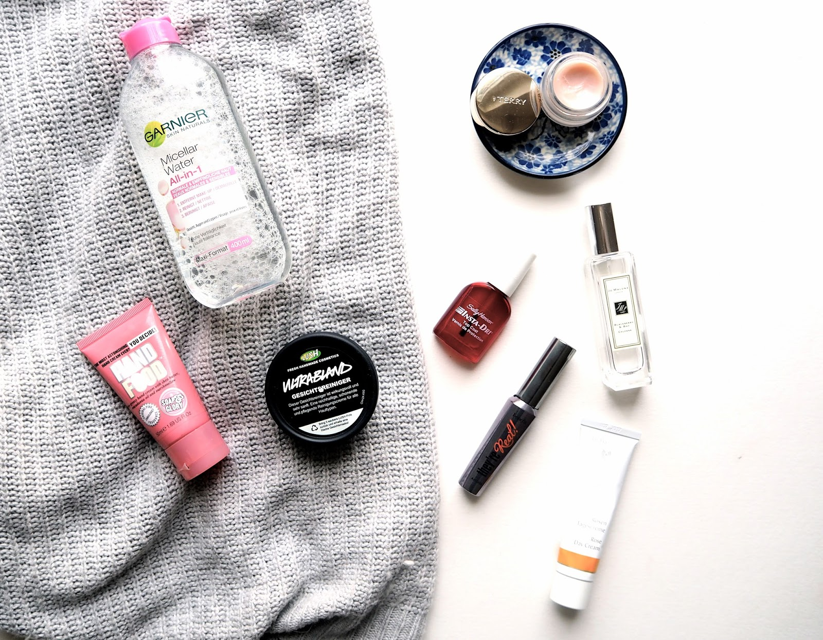 Most Repurchased Beauty, skincare, makeup, garnier, benefit they're real, jo malone, perfume, by terry baume de rose, lush ultrabland, dr hauschka rose day cream, soap and glory hand food, sally hansen insta dri, beauty