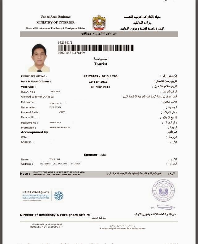 Lakbayonline Uae Visa For Philippine Passport Holders