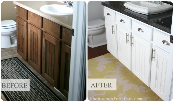 Painting And Distressing Bathroom Cabinets master bathroom vanity makeover