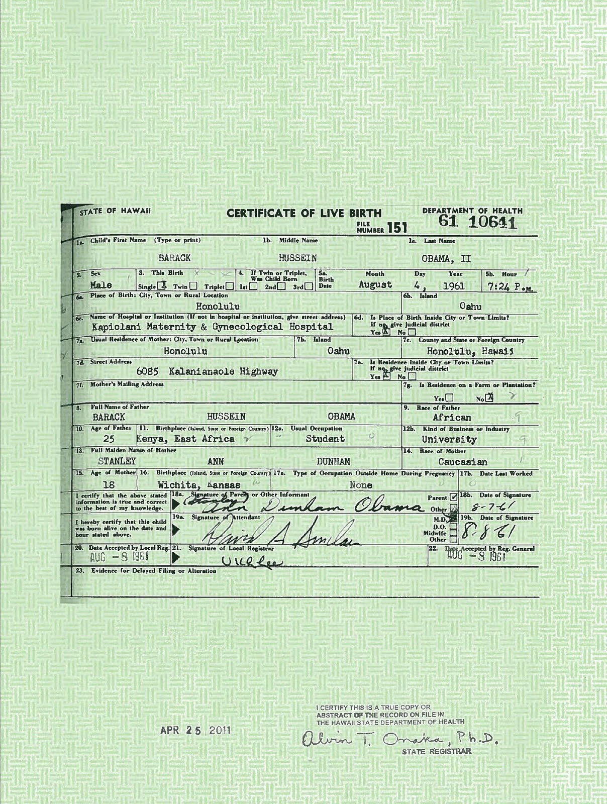 "Obama released what he claims is the ""long form"" Birth Certificate."