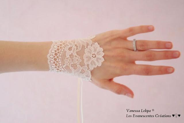 petite manchette en dentelle de calais pour futures mariée, créations de Vanessa Lekpa