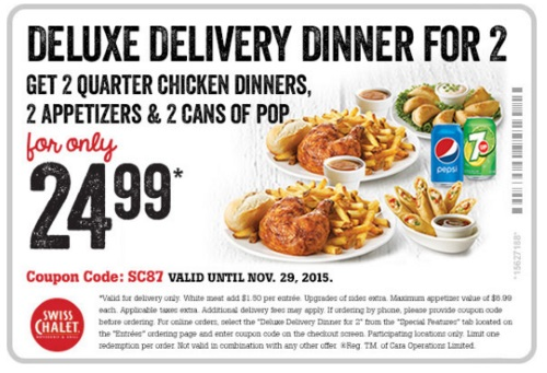 Swiss Chalet Deluxe Delivery Dinner for 2 Coupon