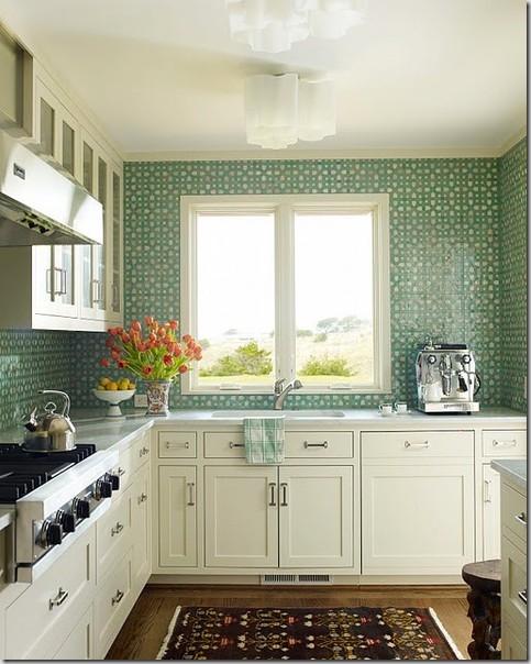 la maison boheme aqua green tile backsplash