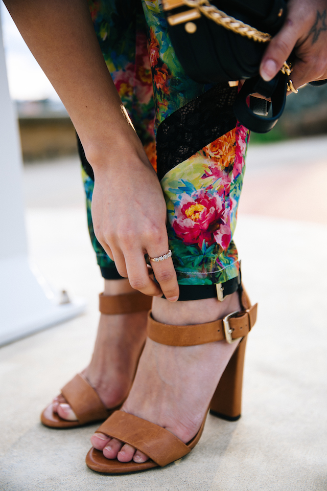 Crease free floral & lace pants by Australian label Elliatt. Zara tan & black heeled sandals.
