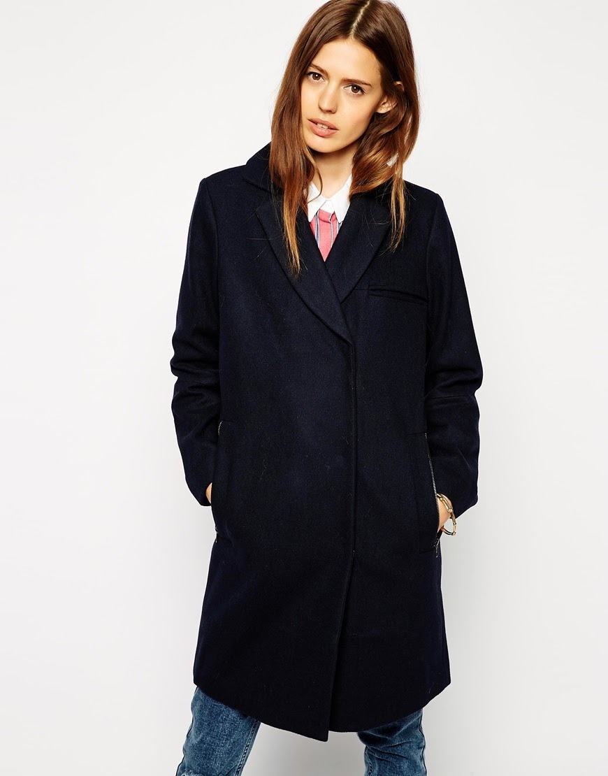 asos navy winter coat