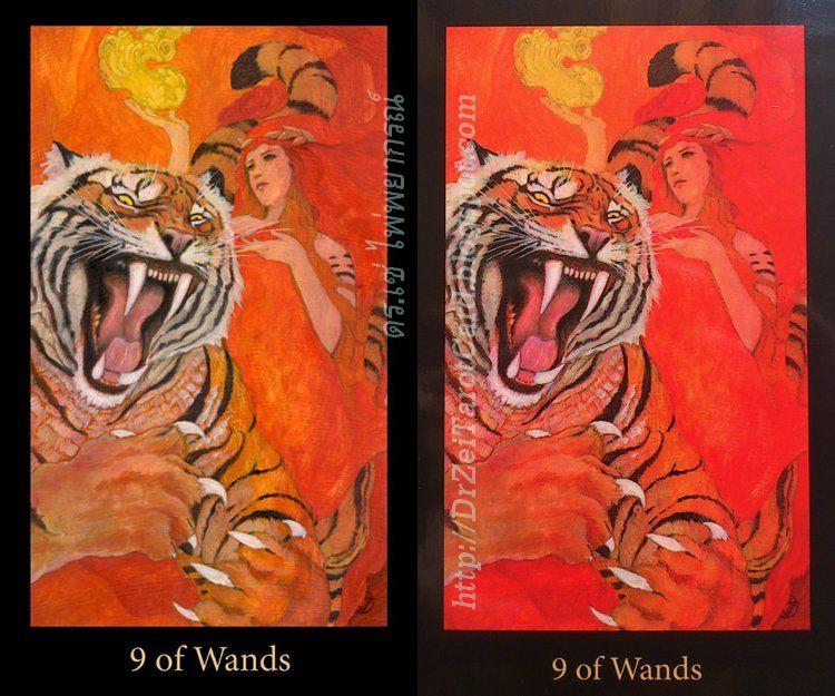 Nine of Wands Mary El Tarot Tiger Fire Red Minor Arcana Cards เสือโคร่ง ไพ่ทาโร่ ไพ่ยิปซี ไพ่เก้าไม้เท้า 9 คฑา คทา ไม้เท้า Red color