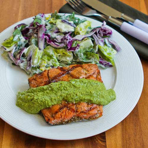 Basil, Arugula, Scallions, and Lemon Pesto Sauce for Grilled Fish, Chicken, or Vegetables