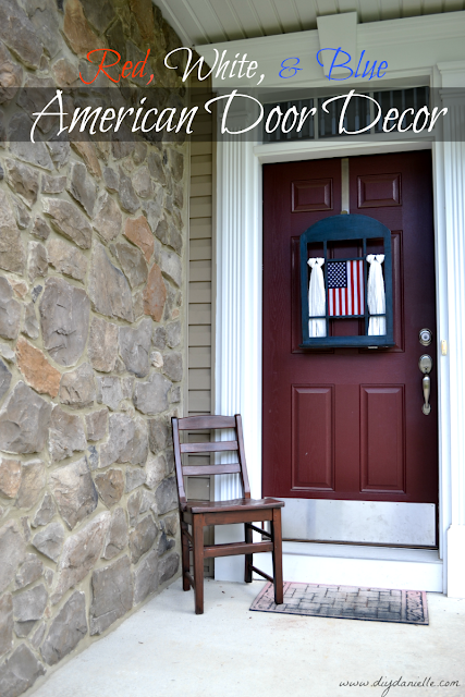 Red, White, and Blue American Door Decor: She turned this simple decor window into something spectacular for the 4th of July holiday... but don't worry about this sitting in storage the rest of the year. With a little tweaking, this decoration can be changed to reflect other celebrations through the year as well.