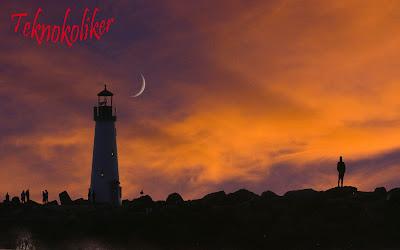 gün batımı, deniz feneri