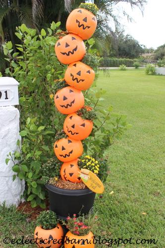 Plastic Pumpkin Tower