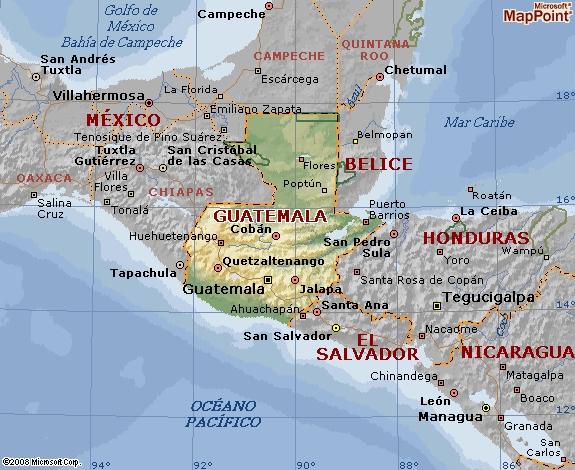 mapa en relieve guatemala