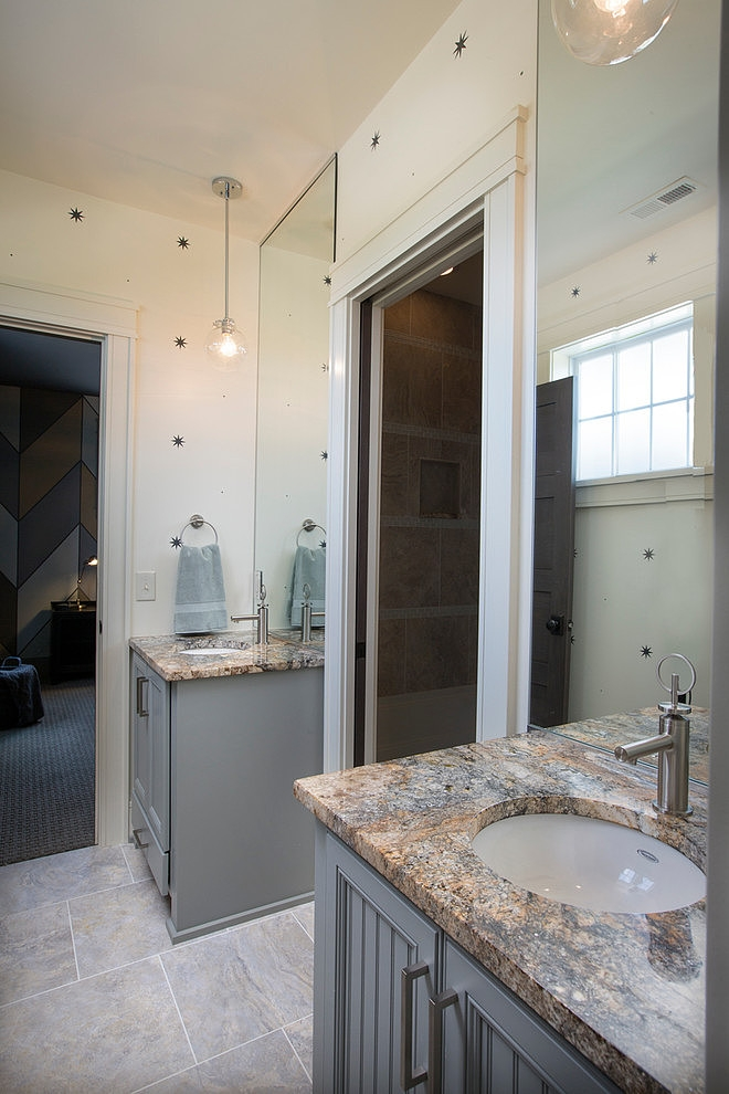 Bathroom furniture in Craftsman style home in Dublin, Ohio