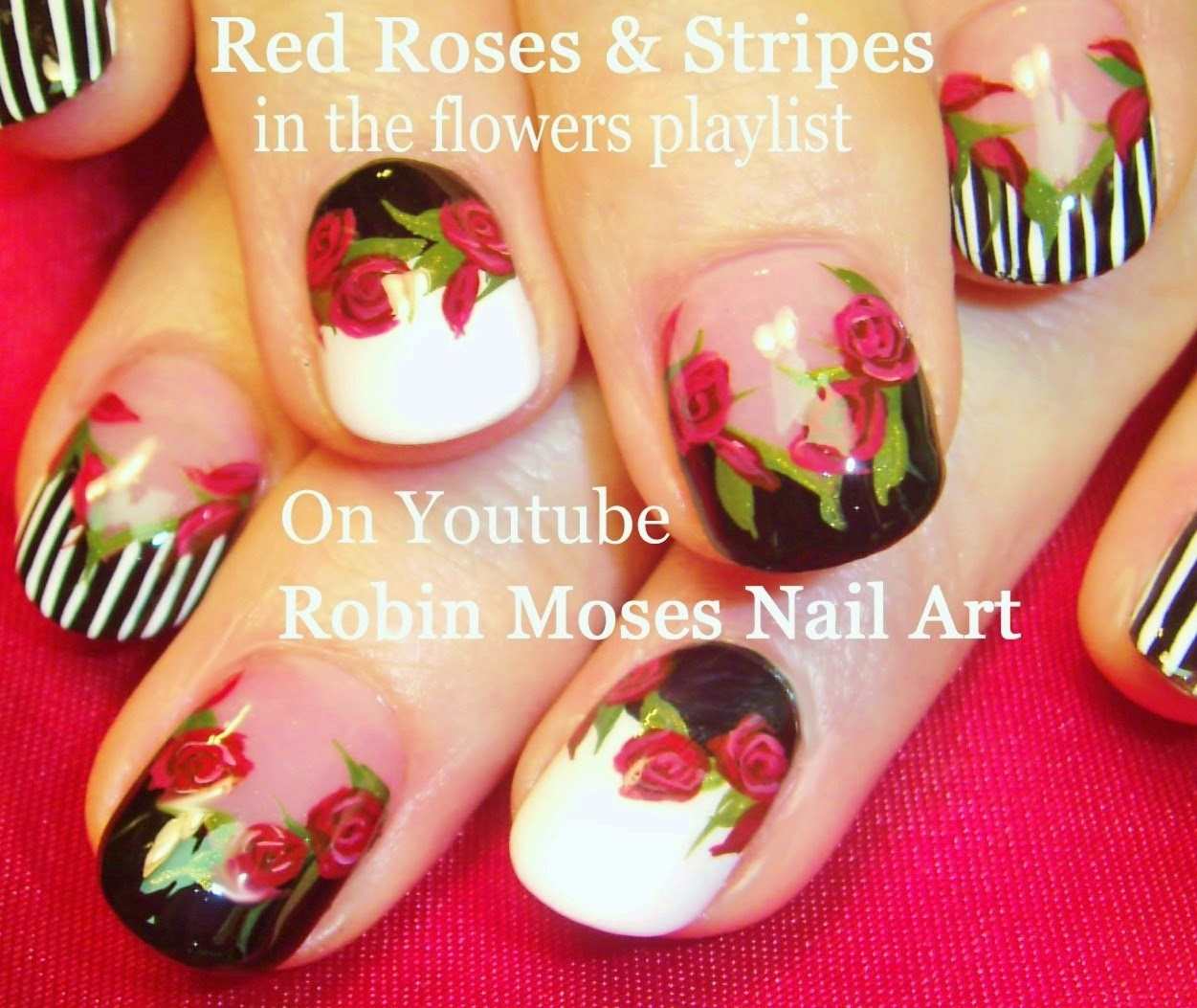 Robin moses nail art rose nails roses nail art dark flower 5 nail art tutorials diy nail designs red roses stripes prinsesfo Gallery