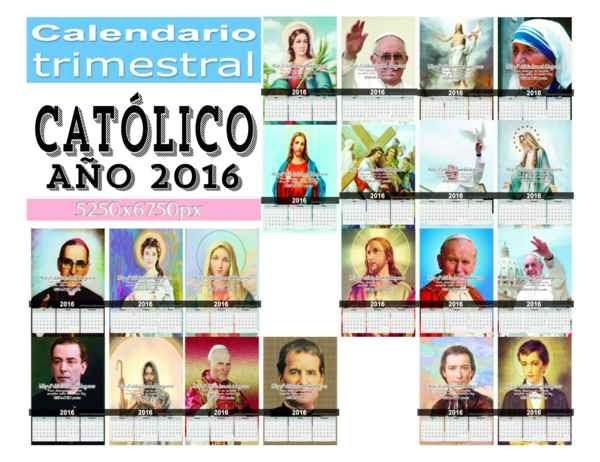 set de 5 calendarios trimestrales católicos en alta resolución