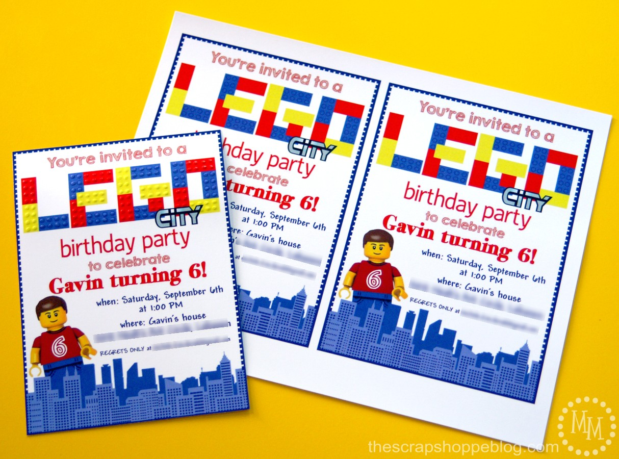 Lego Birthday Invitations The Scrap Shoppe