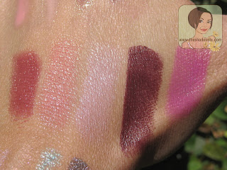 MAC Lipsticks in Glamourdaze, Innocence, Beauty, Dramatic Encounter, Outrageously Fun