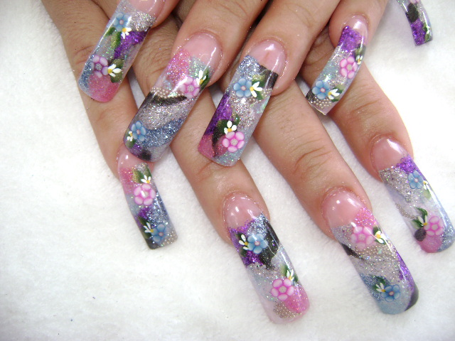 Flower Nail Art Designs Short Nail Designs