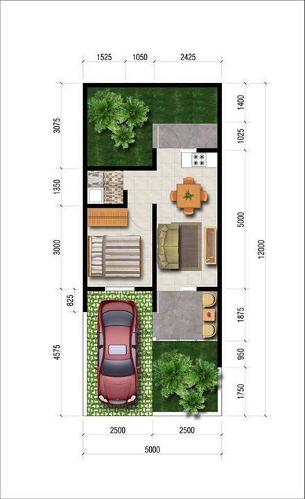 Desain Rumah 5x12 2 Lantai