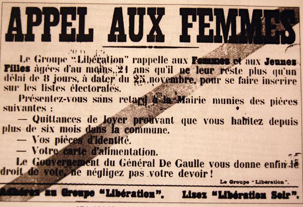 29 avril 1945: vote des femmes